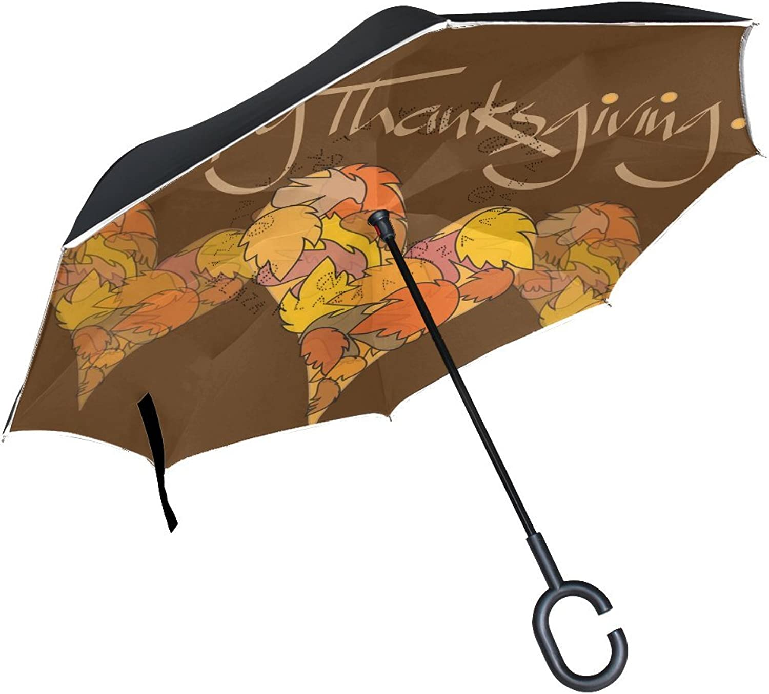 Holidays Traditional Festivals Thanksgiving Day Funny Young Traditional Drawing Simple Ingreened Umbrella Large Double Layer Outdoor Rain Sun Car Reversible Umbrella