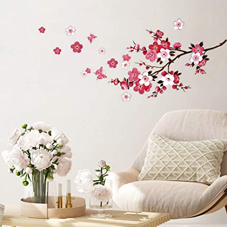 Amazon Com Supzone Japanese Cherry Blossom Wall Decal Sakura Tree Branch Wall Stickers Butterfly Flowers Wall Art Mural Stickers Diy Removable Vinyl Wall Decor For Bedroom Living Room Office Kitchen Dining