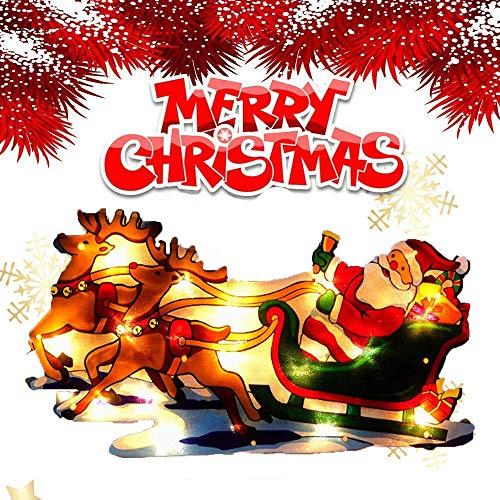 CHANG Luces de ventana de Navidad Adornos de Navidad Santa Claus Ventosa...