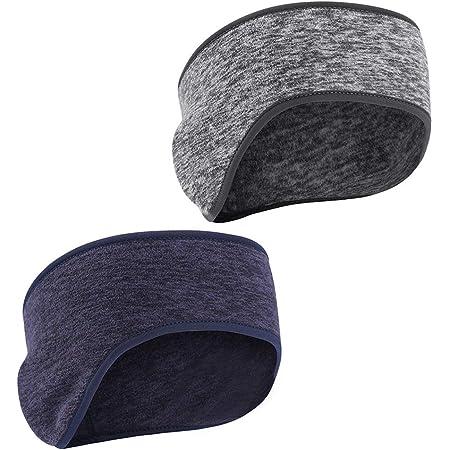 Earwarmer Headband Fleece Ear Warmers Winter Cold Weather Ear Muffs Head Wrap Sports Sweatband Running Ear Cover double layer NAVY BLUE