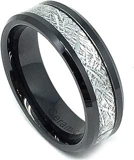 8mm High Polish Ceramic Black Beveled Edge w. Meteorite Inlay Wedding Band Ring For Men or Ladies