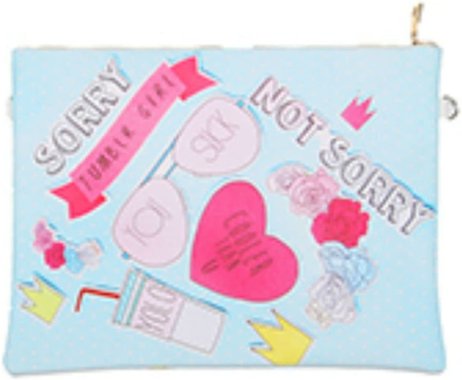 Destinee's Sorry NOT Sorry Print Vinyl Crossbody Clutch Bag Accessory