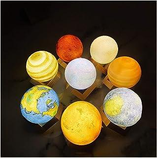 YXX Creative Recargable Impresión 3D Ocho Planetas Lámpara Luz de Noche Touch Pat Moon Light con, 3Colors Decoración for el hogar Regalo romántico, Home Art Deco