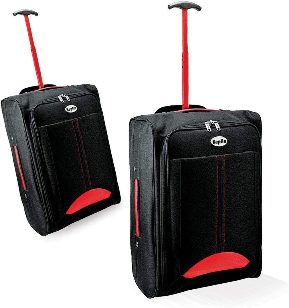 Green//Black KEPLIN Lightweight Wheeled Cabin Approved Travel Bag Suitcase Hand Luggage Trolley