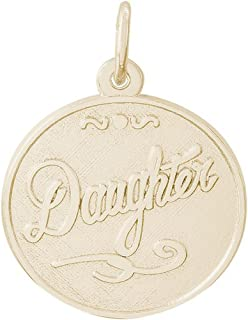 Rembrandt Charms Round DISC Daughter Charm in Gold OR Silver