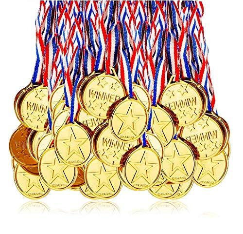 Fontee Goldmedaille für Kinder, 24 Stück Goldmedaillen Kinder Sieger Medallien Super Medallien Podium Kindergeburtstag Kinder lieben Diese Gold Medallien