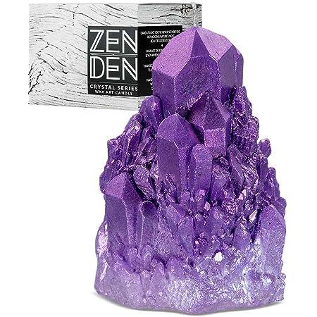 Zen Den Crystal Series - Abundance Quartz Shaped- Unscented Wax Candle - Handcrafted for Home Décor & Positive Energy (Amethyst / Purple)