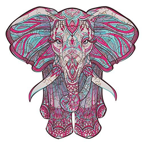 CaCaCook Puzzle de Madera, Piezas de Rompecabezas de Formas únicas, Puzzle de Elefante, Puzzle Animales para Adultos y Niños Colección de Juegos Familiares, 134 Piezas, 129 Piezas