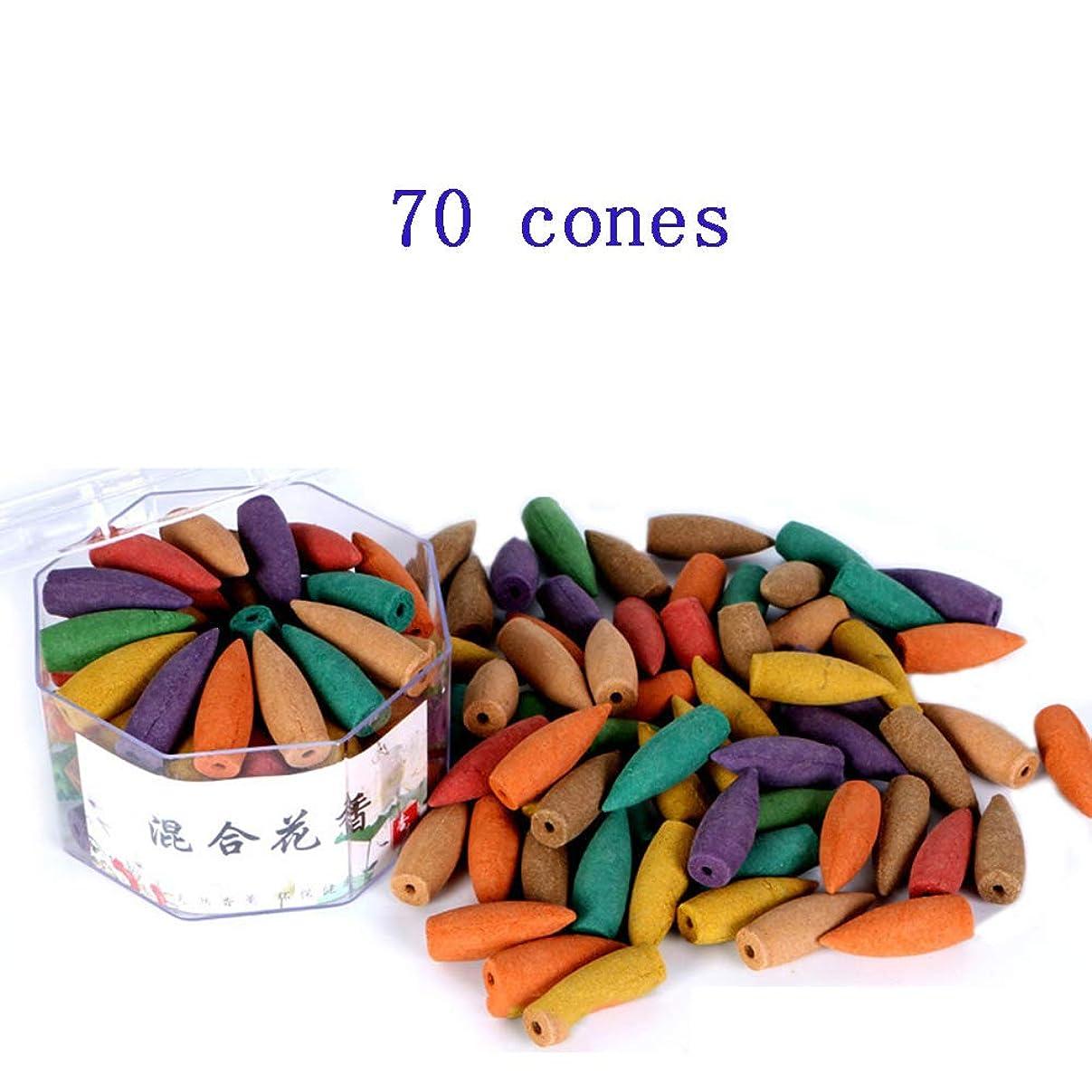 ぼかし紛争序文(In-70mixed) - Corcio 70pcs/box Lengthened Cone Tower Incense Backflow Incense Waterfall Cones for Incense Burner Holder about 15 Mins-Mixed incense