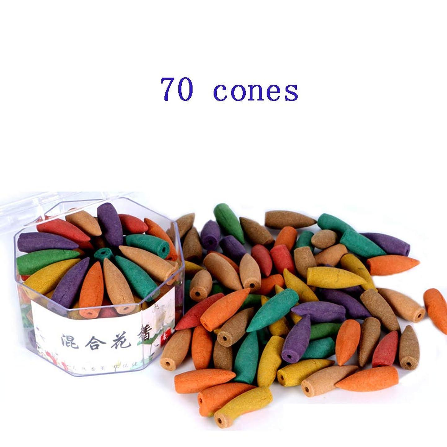 冗談でまた明日ね仮装(In-70mixed) - Corcio 70pcs/box Lengthened Cone Tower Incense Backflow Incense Waterfall Cones for Incense Burner Holder about 15 Mins-Mixed incense