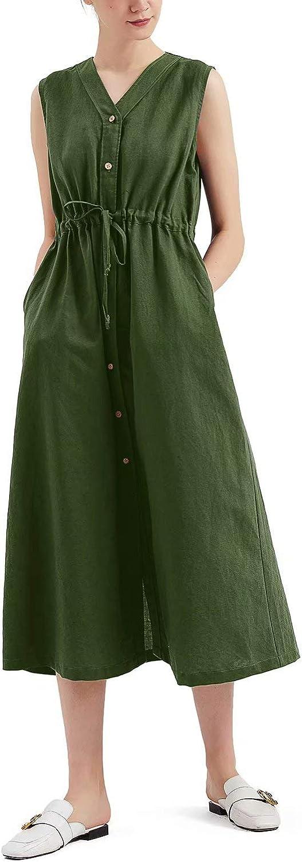 MEOMUA Women's Linen Dress Summer Drawstring Cotton Plus Size Linen Sleeveless Dress