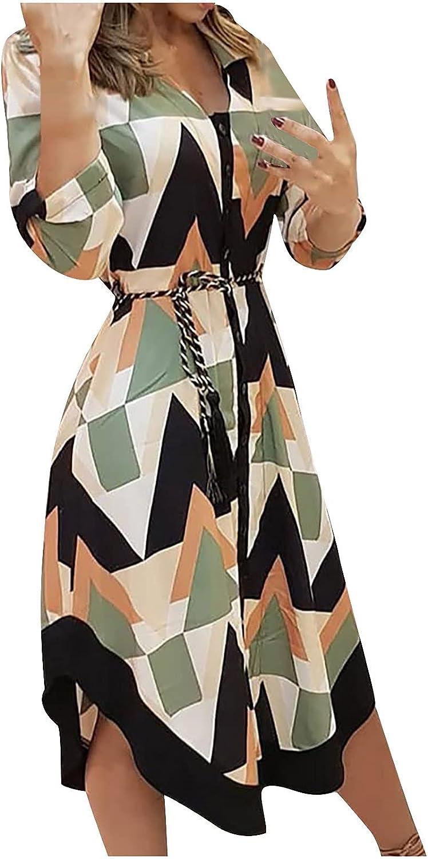 Women Summer Shirt Dress Lapel Button Party Ball Gowns Color Block Patchwork Sundress Casual Long Sleeve Belt Midi Skirt