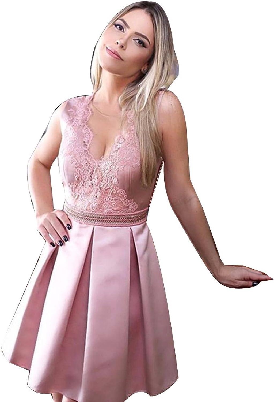 LISA.MOON Women's Illusion Neck A line Sleeveless V Back Satin Lace Homecoming Dress