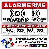 Autocollants Alarme (x 6) + plastification de Protection Anti UV : Site sécurisé...