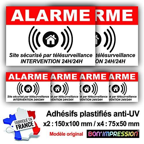 Autocollants Alarme (x 6) + plastification de Protection Anti UV : Site sécurisé par télésurveillance - Intervention 24H/24H - ARB (Lot 1 : 2+4)