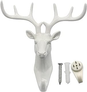 bouti1583 Single Deer Head Antlers Wall Hanger Coat Hat Hook Animal Shaped Decorative Gift White