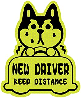 biinfu New Driver Reflective Sticker Car Decal,Keep Distance Sticker,for Student Driver-Yellow