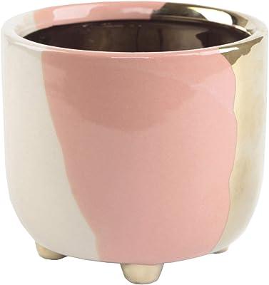 Flora Bunda 4.8 Inch Empty Succulent Pot Metalic 3-Tone Ceramic Planter with Legs,Blush
