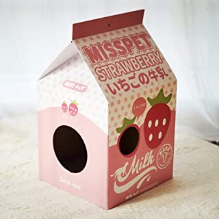 Studyset Cat Scratcher House,Cute Carton Milk Box Shape Cat Scratch Board Corrugated Paper House Toy for Pets
