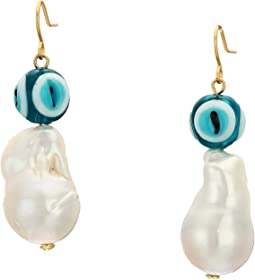 Pearl and Evil Eye Earrings