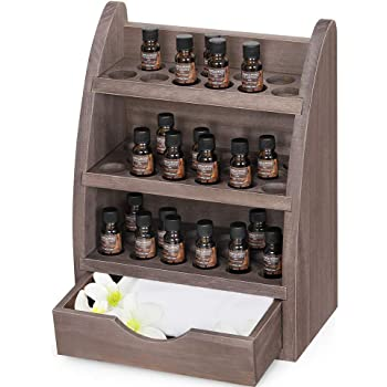 9 Slots Wooden Essential Oil Tray Organizer Show Stand Rack for Display and Storage