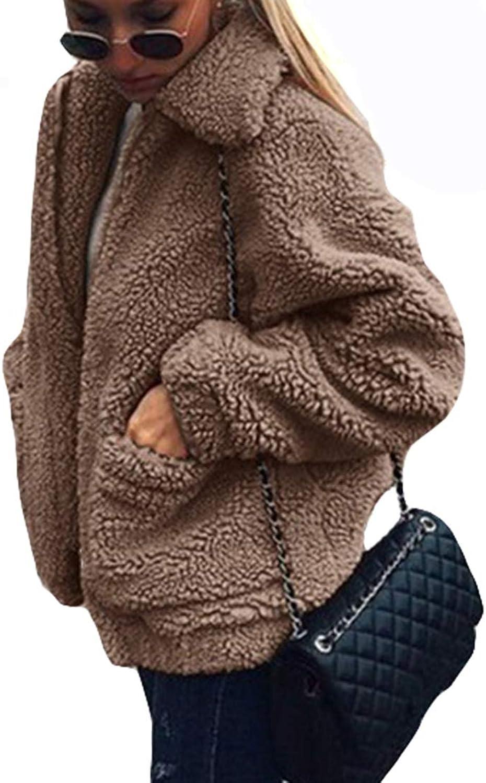 Belgius Women Long Sleeve Lapel Fleece Coat Shearling Shaggy Oversized Outwear Jacket