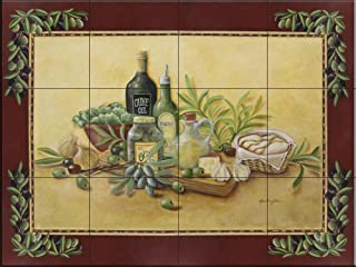 Ceramic Tile Mural - Tuscan Bounty with Border- by Rita Broughton - Kitchen backsplash/Bathroom shower