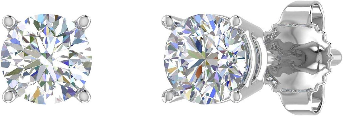 0.12 Carat to 5 ☆ popular 2021 new 3 4 4-Prong Earrings 14K Gol in Diamond Stud