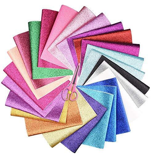 Onepine GlitzerStoff 25 Stück 25 Farben GlitzerKunstleder Stoff,22x32 cm Glitzer Bastelstoff für DIY Handwerk,Ohrringe,Haarspangen (25 Stück 25 Farben)