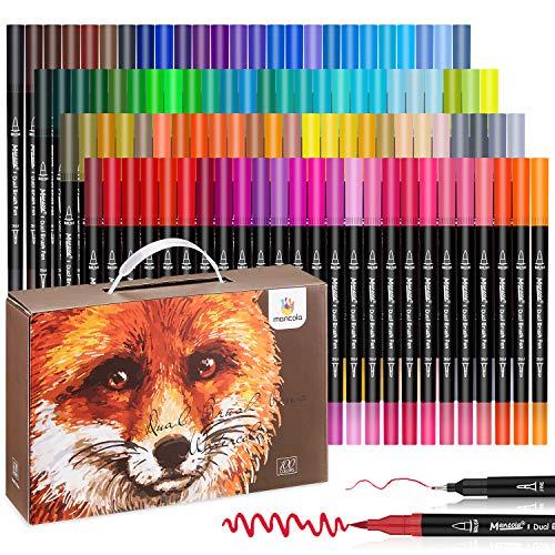 Mancola Stylos à brosse à double pointe à 100 couleurs avec bordure fine Tip 0.4 et Pinceau pour livres à colorier, dessins, peintures, calligraphies Bullet Journal MA-100B