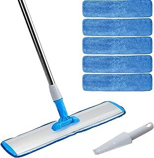 "Microfiber mop 18"" Wet mop for hardwood Laminate Tile floors cleaning, 360 Degree Rotatable, Adjustable, Lightweight Wet/Dry Mop + 5 Reusable Premium Mop Pads Refills + 1 Free Dirt Removal Scrubber"
