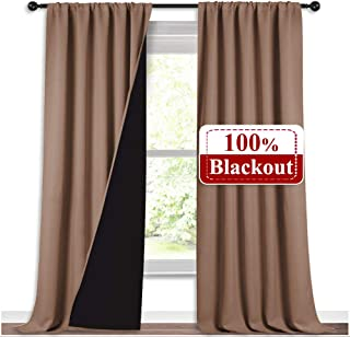 NICETOWN Extra Long Truly Blackout Drapes for Hall and Villa, 100% Blackout Window Curtain Panels with Black Lined for Night Shift Worker, 52 inches Width Per Panel, 108 inches Length, Taupe, 2 Pieces