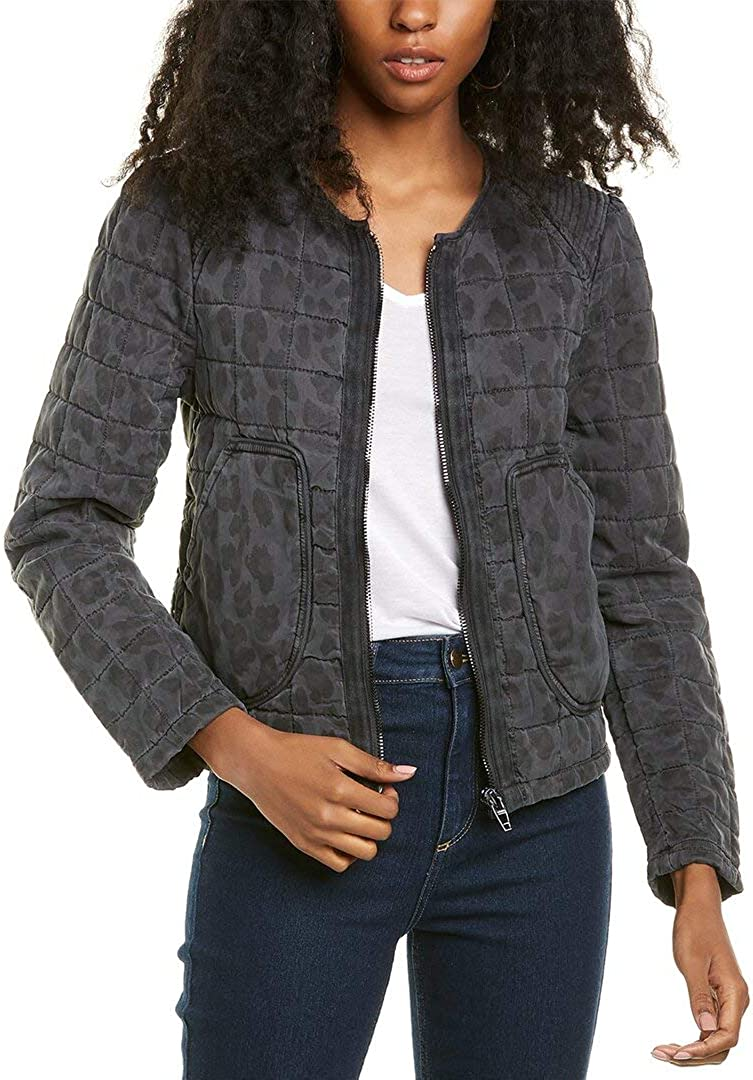[BLANKNYC] womens Leopard Printed Collarless Quilted Jacket
