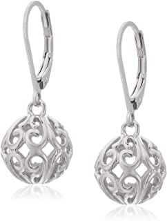 925 Sterling Silver Handmade Jewelry Filigree Ball Leverback Dangle Earrings