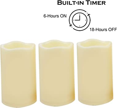 "iZAN 3-Pack Battery Operated Flameless LED Candles with Timer Outdoor Waterproof Flickering Timing LED Pillar Candles for Home Wedding Party Festival Décor Long Battery Life 1500+ Hours 3""x5"""