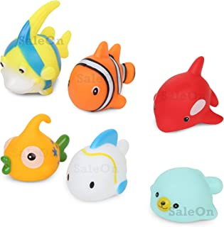 SaleOn 6 Fish Bath Toy Large Size Cute Fish Swimming Water Toys Non-Toxic , BPA Free Colorful Soft Rubber Float Squeeze So...