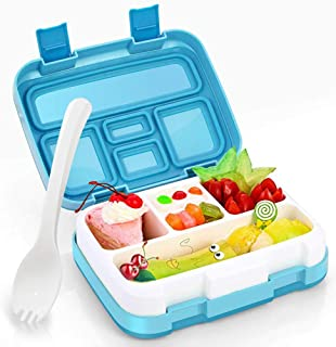 Kids Lunch Box, Hometall Lunch Box for Kids with Spoon, BPA-Free, Leakproof 5 Compartments Food Container Great for Picnics, Travel and More(BLue)