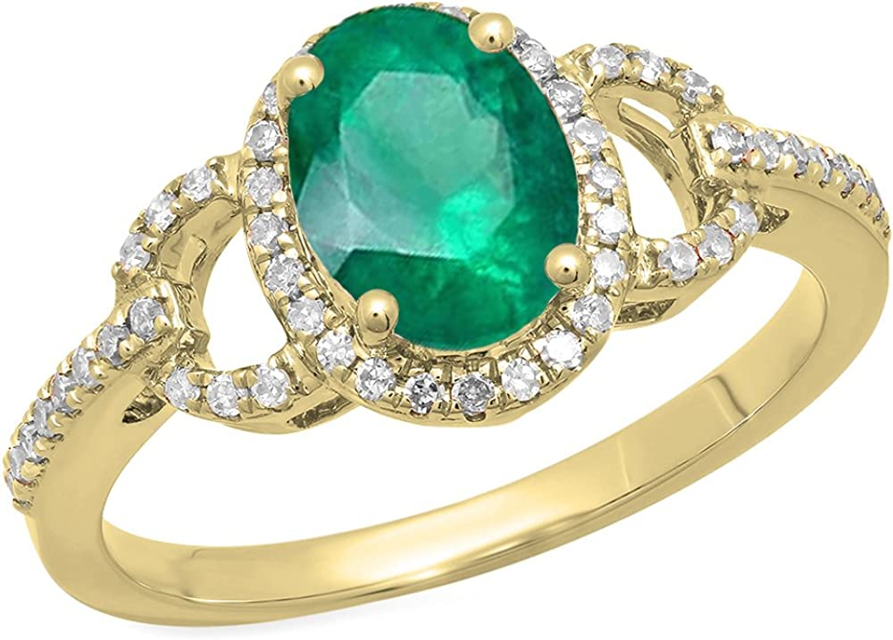 Dazzlingrock Collection 14K 8X6 MM Each Oval Gemstone & Round Diamond Ladies Bridal Halo Engagement Ring, Yellow Gold