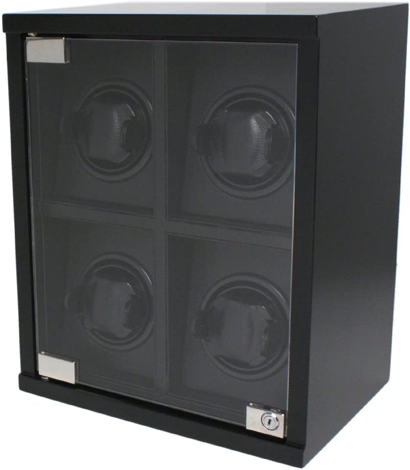 Quad Watch Winder for 4 Automatic Los Angeles Mall Watches Wood Desi Carbon Super intense SALE Fiber
