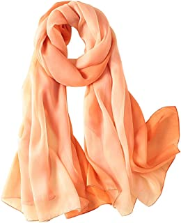 Womens printing Embroidery Long Scarf Lightweight Wrap Shawl Silk Scarf