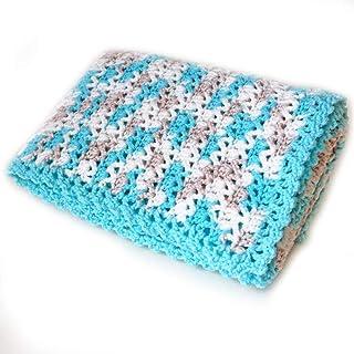 Handmade Aqua and White Baby Blanket.