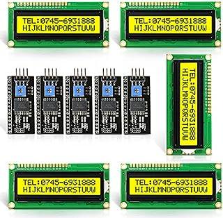 Aideepen 5個セット16x2 キャラクタLCDディスプレイモジュール/I2C(IIC,TWI)シリアルインタフェース/バックライト付き/HD44780コントローラ Arduinoに対応 (1602 LCD 5V黄)