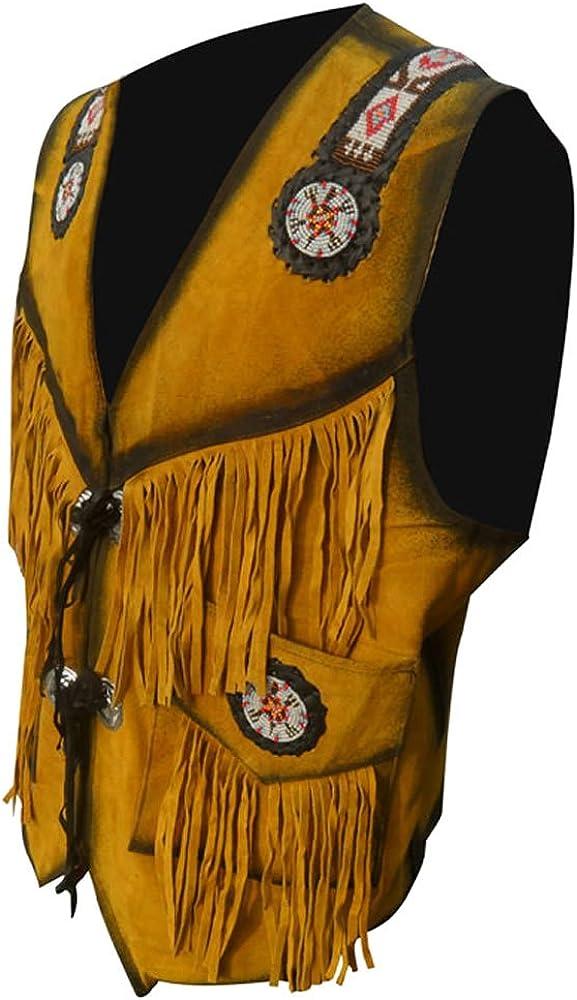 coolhides Men's Cowboy Leather Vest with Fringes & Beads