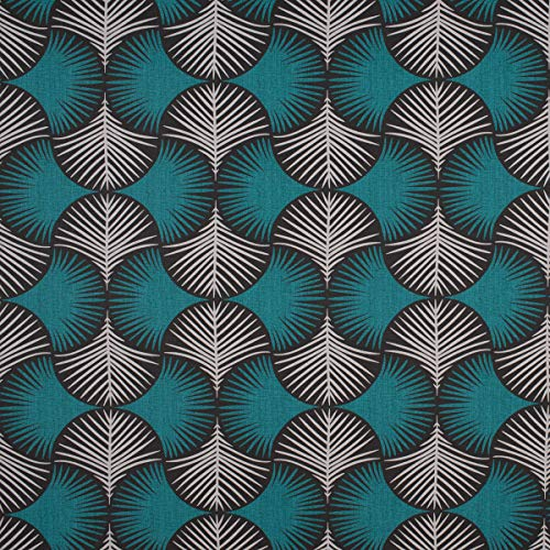 SCHÖNER LEBEN. Dekostoff Baumwollstoff geometrisch Fächer Blätter Taupe türkis 1,55m Breite