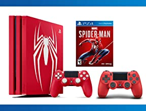 PlayStation 4 Pro 1TB Limited Edition Console - Marvel's Spider-Man + DualShock 4 Wireless Magma Red Controller + NBA 2K17 Bundle ( 3 - Items )