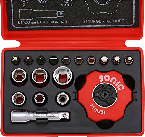 Sonic-Equipment Werkzeugkoffer Ratsche Innenhandfläche, Tüllen Sechskant - 18-teilig