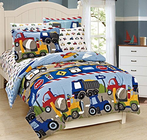 Mk Collection 7 Pc full Size Kids Teens boys Comforter and Sheet Set Blue Red Yellow Trucks Tractors Cars New Full Size
