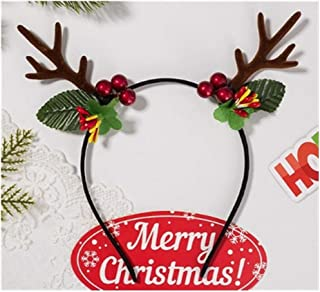 QQRS- Christmas headband with small antlers tiara female hair clips festive party jewelry (Color : B)