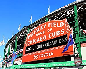 "Cubs 2016 World Series Wrigley Field Championship Sign 8"" x 10"" Baseball Photo"
