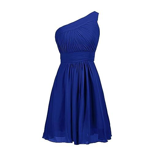 9ee23f409751 Dressystar One-shoulder Short Royal Blue Bridesmaid Dresses For Women Royal  Blue Size 8